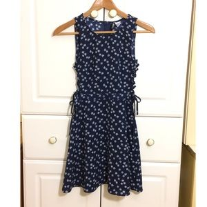 H&M Navy and White Floral Side Cut Out Dress